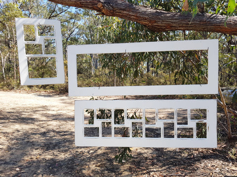 Shabby Chic Vintage White multi photo collage frame in recycled timber Australian made to order