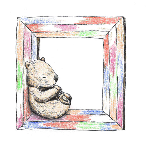 Wombat and a Happy Frame made in eco friendly salvaged wood Australia