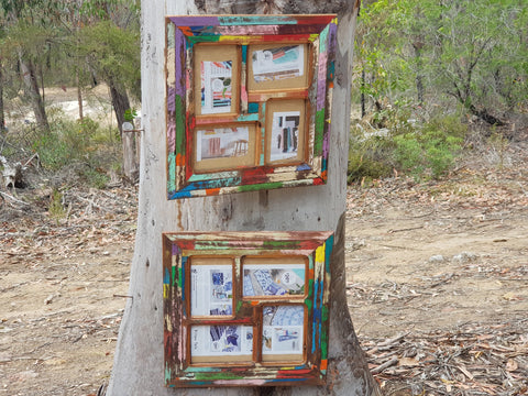 Recycled Timber Multi opening photo frames bright colours handmade in Australia