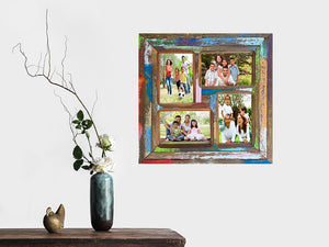 Square multi picture frame for 4 photos using Eco Friendly Recycled Timber
