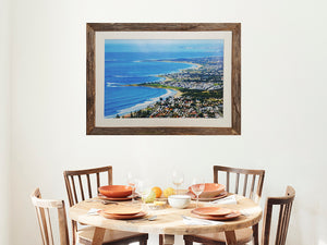 View over Wollongong in an Australian custom made recycled timber Wombat Frame