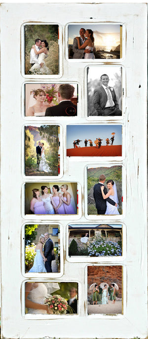Recycled Timber Multi Picture Photo Frame with 12 photo openings.