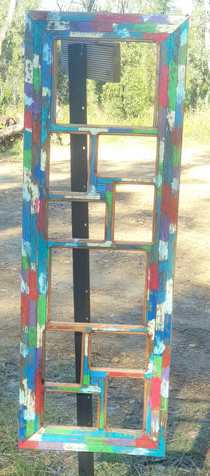 Salvaged Recycled Timber Multi Photo Frame with 10 Opening spaces for pictures