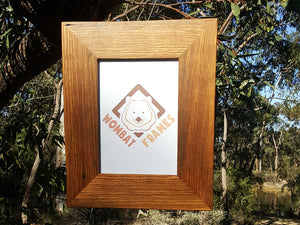 Eco-friendly recycled timber photo frame in brown gum size A4