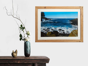 Kiama ocean front photography by Mariah Cula framed in recycled timber custom made frame