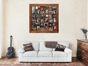 Large Square Multi Collage Recycled Timber Picture Frame for 36 photos.