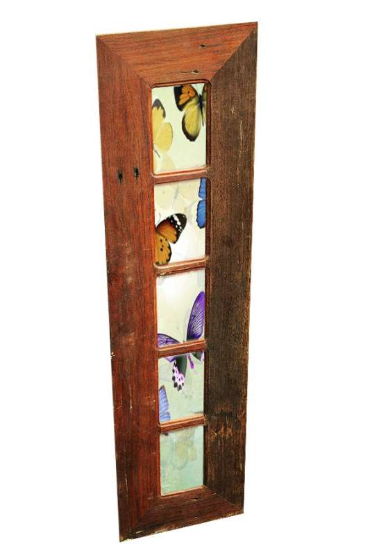 Long Recycled Timber Multi Photo Frame with 5 opening slots