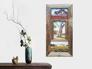 Weathered Rustic Grey Fence look Australian made Recycled Timber 3 opening multi photo collage picture Frame