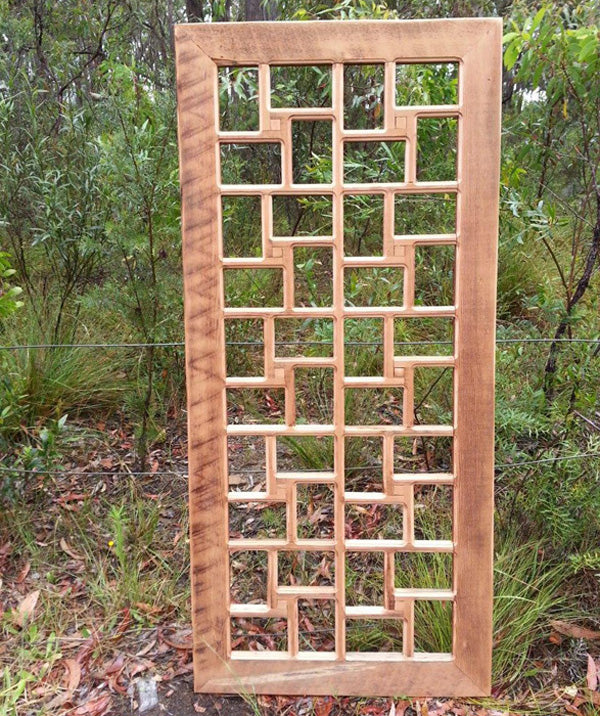 Large Salvaged Wooden Picture frame with 40 openings