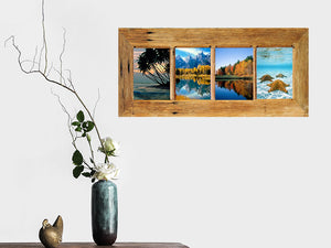 Brown Gum 4 opening funky multi photo frame Australian made with Eco Friendly Recycled Timber
