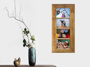 Hand made picture frame for 4 photos, a multi photo collage frame