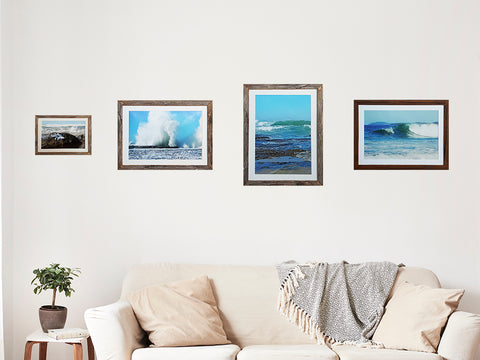 Selection of Australian made narrow frames in recycled timber with mat