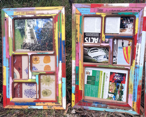5 opening bright coloured rustic timber photo frames