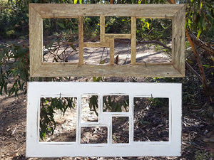 6 opening Rustic Recycled Multi Photo Frame and White Picture Frames made with Recycled Timber