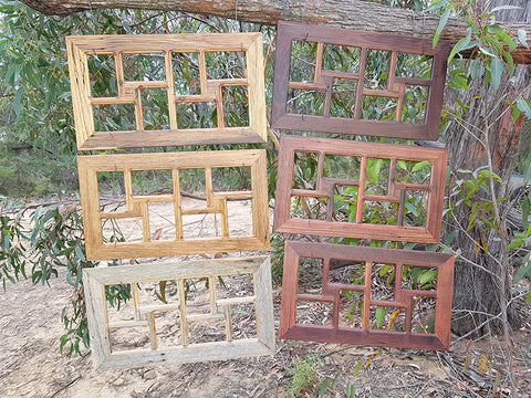8 opening recycled timber rustic picture frames at Wombatframes