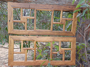 Multi size 9 opening recycled timber photo frames for sustainable living