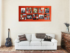 Bright Red Multi size Photo Collage Frame, one of our Coloured Picture Frames made with Recycled Timber