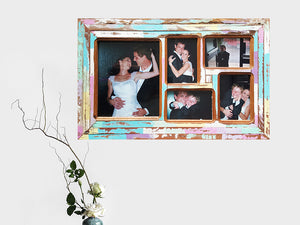 Wedding Photo Frames custom made using Eco Friendly Recycled Timbers and painted in bright happy colours