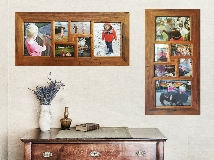 6 opening Recycled Timber Family Multi Photo Frame for Photo Collage