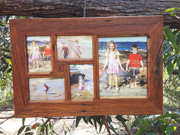 Handcrafted Recycled Timber 5 opening Multi Photo Collage Frame