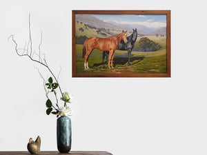 Equine Art Oil Painting in a Wombat Frames Eco Friendly Recycled Timber Picture Frame. Brown Gum