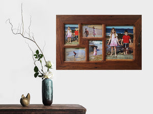 Recycled Timber 5 opening Multi Photo Collage Frame handmade in Australia