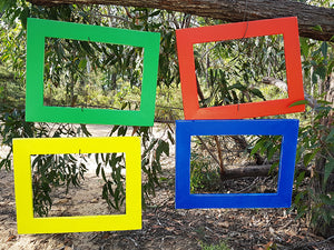 Bright Red, Green, Yellow and Blue Painted Recycled Timber Photo Frames Australia
