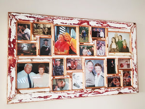 Happy Customer with completed family multi collage photo frame on their wall