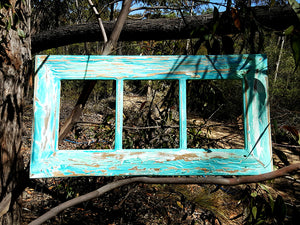Custom Painted Fun and Funky Boho Chic Aqua Multi Collage Photo Frames Australia