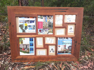 Large Multi opening Collage Picture Frame made with authentic Recycled Australian Timber Brown Gum