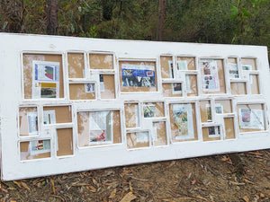 Painted White over Recycled Timber a Large Multi Picture Photo Frame made in Australia