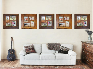 Light-brown-gum-and-darker-brown-gum-natural-colour-variation-in-square-picture-frames-with-4-openings