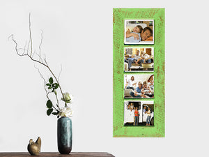 Lime green rustic recycled picture frame with 4 photo collage openings handcrafted in Australia