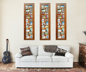 Living Room with 3 Recycled Australian Timber 20 opening Multi Collage Photo Frames Vertical