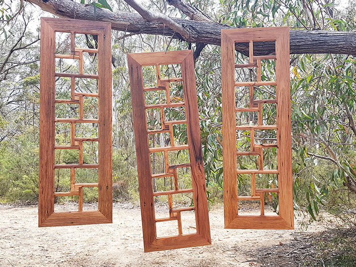 Salvaged Brown Gum Family Photo Frame with 16 Multiple Photo Openings