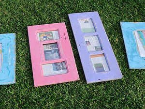 Pink 3 opening Frame and Lilac Purple 3 opening multi photo frame made in Recycled Timber