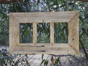 Rustic Fence look Weathered Grey 3 photo opening Picture Frame hand crafted in Australia