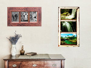 Recycled Timber 3 opening photo frames in Australian Brown Gum and in Vintage White Old Architrave