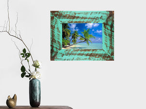 Rustic recycled timber picture frame with aqua colour painted sanded back look