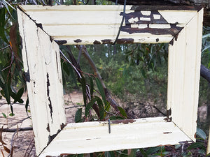 Vintage old Architrave Antique White over Recycled Timber, Custom Framing Australia at Wombat Frames