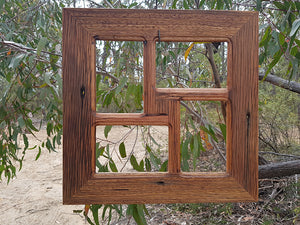 Square photo frame for 4 images made using salvaged hardwood