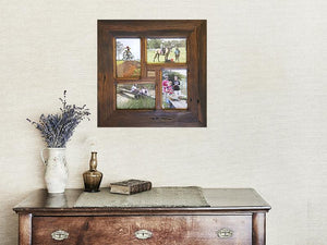 Square-picture-frame-for-4-photos-using-Eco-Friendly-Recycled-Timber