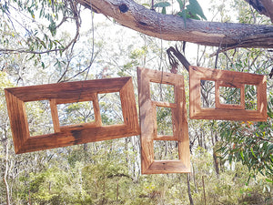 Authentic Repurposed Australian Brown gum  3-opening multi picture frame.