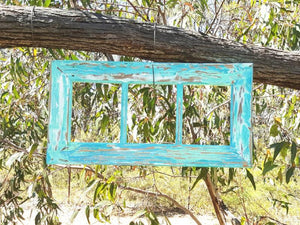 Fun and Funky Aqua Green hand painted recycled timber picture frames Australia