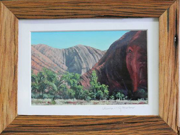 Recycled Timber Framed Uluru Painting Print by Australian Artist Gabrielle Marlow