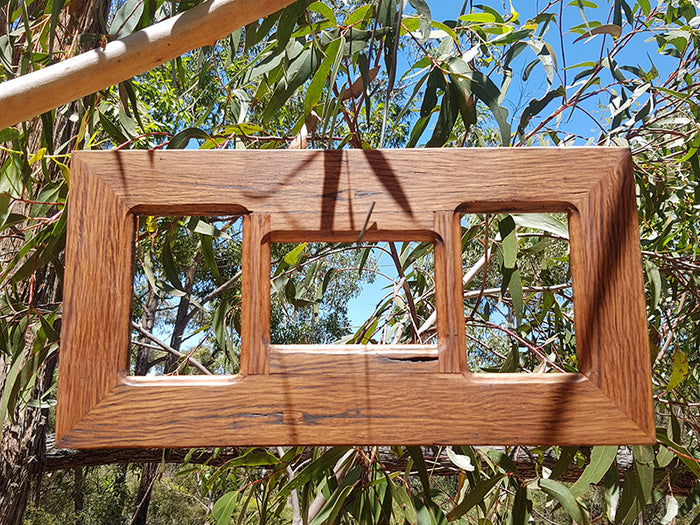 Rustic Recycled Brown Gum  3 opening Photo Frame made in Australia