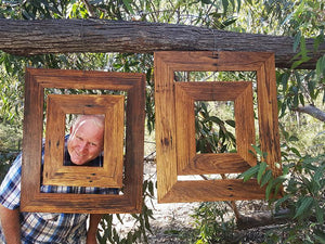 Picture frame manufacturer Wombat Frames handcrafts unique rustic Recycled Timber Frames