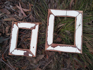 Vintage Recycled Timber White photo frames Australia made using old Architrave