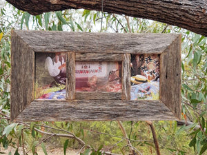Rustic grey recycled timber picture frame 3 openings for 10x15cm photos