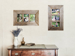 3 opening Multi Photo Frame Rustic Grey Fence look Recycled Timber Picture Frames Australia